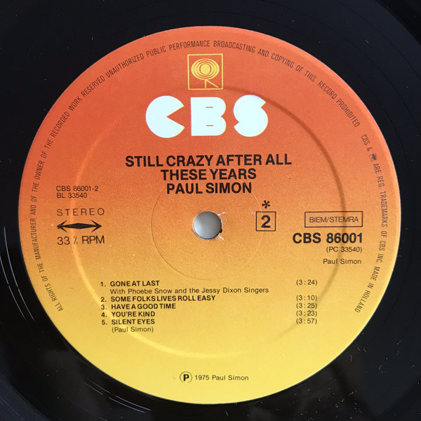 Paul Simon - Still Crazy After All These Years (LP, Album)