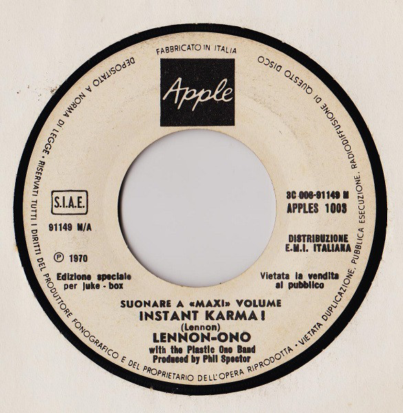 Lennon-Ono* With The Plastic Ono Band - Instant Karma ! (7