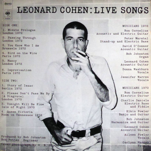 Leonard Cohen - Live Songs (LP, Album)