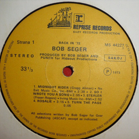 Bob Seger - Back In '72 (LP, Album)
