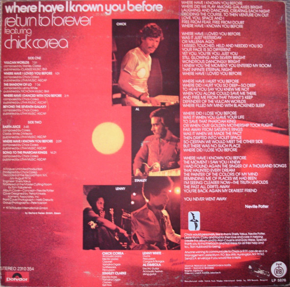 Return To Forever Featuring Chick Corea - Where Have I Known You Before (LP, Album)