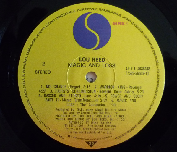 Lou Reed - Magic And Loss (LP, Album)